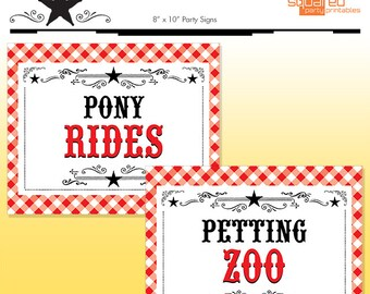 Summer BBQ Party Signs - County Fair Birthday Party - DIY Print - Summer Birthday - Pony Rides - Petting Zoo - Instant Download