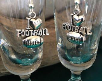 I Love Football Earrings Drop Earring Fish Hook Earrings Silver Dangle Sports