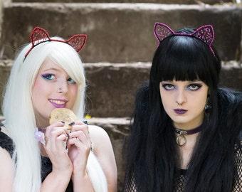Glitter Kitty Ears of Glory/ Jeweled neko ear headbands