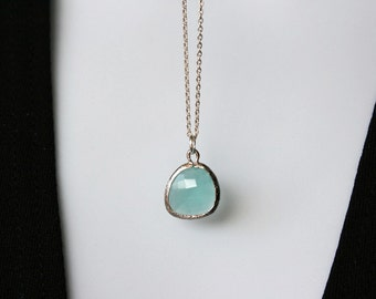 glass stone in bezel - simple blue aqua green necklace, everyday wear. Can make your choice Material, Color of Stone, beautiful sweet gift