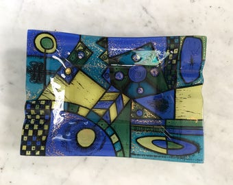 Vintage Higgins Fused Art Glass Night-Time MidCentury Modern Dearborn Ashtray SALE