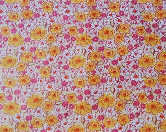 Small orange floral print cotton fabric