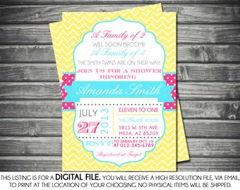 Twins Baby Shower Invite, Baby Shower invitation, digital invite, Twin Girls Invite invite, PDF invite, DIY invite, turquoise, pink, yellow