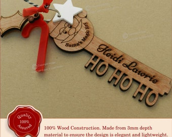 Santa Key. Stunning Personalised Wooden Engraved 'Santa's Magic Key' Christmas Eve Gift
