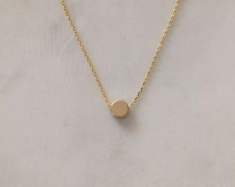 Gold Dot - minimalistischen Gold Halskette - moderne Gold Halskette