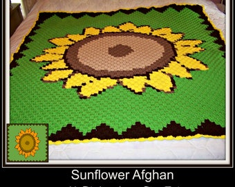 Sunflower Afghan C2C Graph and Word Chart
