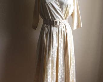 ELVintage Wedding 40s Pat Premo California Cream Cotton Dress • Stunning Party Wedding Dress