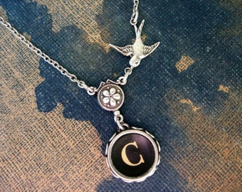Typewriter Jewelry, Antique Typewriter Key Necklace Letter C with Bird, Typewriter Charm Necklace