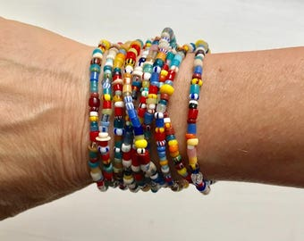 Ghana Christmas Beaded Bracelet SET- Multicolor Glass Ghana Beads - Multicolor Ghana Trade Bead Bracelet - Stackable bracelet - Africa Beads
