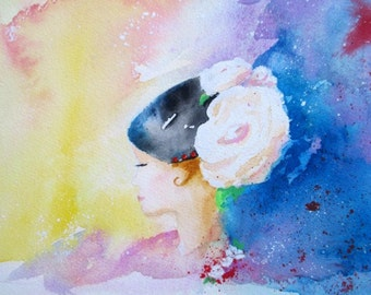 Original Watercolor * LADY In ELEGANT HAT * Small Art Format by Rodriguez