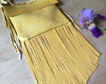 Fringe Leather Bag Native American Inspired Boho Fringe Leather Handmade Leather Shoulder Fringe Handbags Bohemian 70s