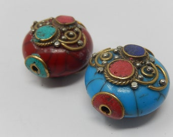 Ethnic beads, dimensions: 2.5 over 2.7 cm, free shipping