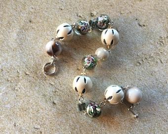 Tan Glass Statement Bracelet,  Lampwork Bracelet, Beaded Bracelet, Beaded Jewelry, Womens Jewelry