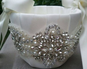 SALE - Wedding Flower Basket, Flower Girl Basket, Rhinestone Flower Basket  - Style BK1000