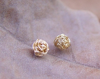 Gold Knot Stud Earrings, Gold Stud Earrings, Tiny Wire Ball Earrings, Gold Earring Studs, Gold Stud Earring, Gold Stud Earring, Stud Earing