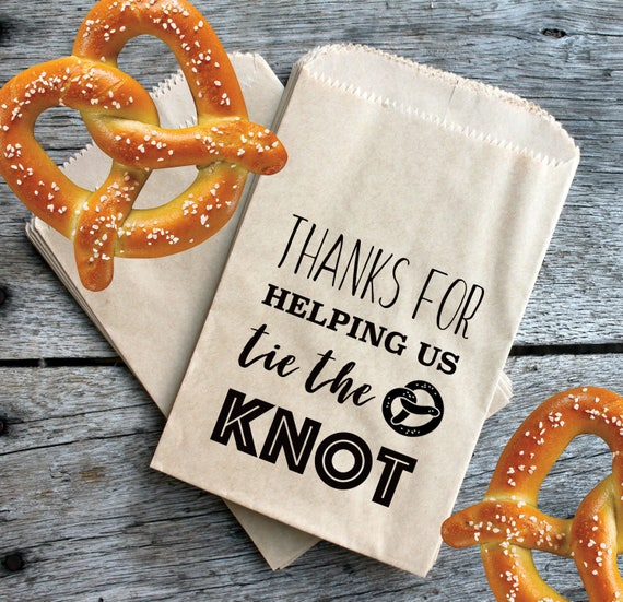 Wedding Pretzel Favor Bags Thanks For Helping Us Tie The