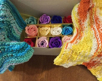 Hand Knitted Wash Cloths and Rose Petal Soaps