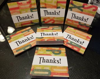 SALE 7 Mini Thank you cards hand stamped orders 3x3 abcs  colorful perfect for your Etsy orders