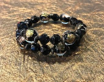 Black and Gold Foil Wrap Bracelet