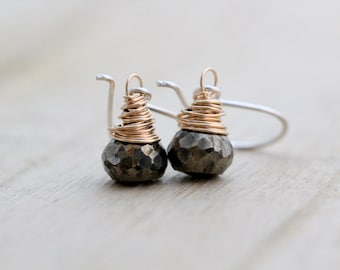 Pyrite Drop Earrings , Sterling Silver & 14K Gold Filled Mixed Metal Earrings , Gifts Under 50 , Pyrite Dangle Drops