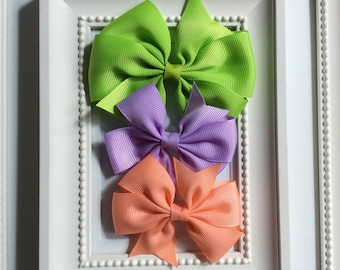 Set of three Big Bows hair clips for Blythe. GREEN/LAVENDER/APRICOT