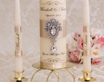 Unity Candles Wedding Unity Candle Ceremony Unity Candles Set Wedding Unity Candle Champagne Rhinestone Unity Candle Ivory Candle