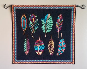 Feather wall hanging, quilted