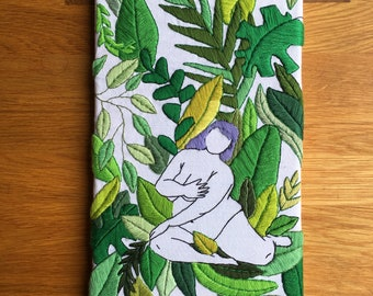 "handmade embroidery ""feeling myself"", unique piece, original"