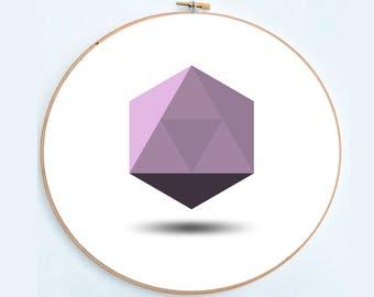 Violet hexagon (cross stitch pattern)