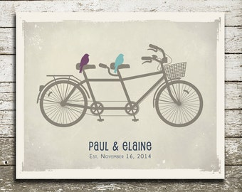 WEDDING Gift for Bride and Groom - Custom Print - Birds on a Bicycle - As Seen In Pregnancy and Newborn Magazine