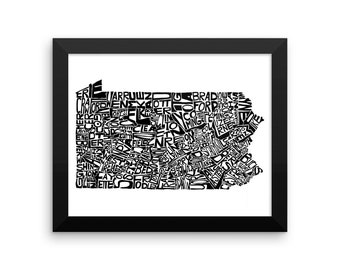 Pennsylvania typography map art FRAMED print customizable personalized state poster custom wall decor wedding housewarming gift