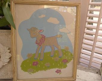 Lamb Nursery Art Print Vintage Lamb Glow in the Dark Framed Lambie Nursery Art 50s Easter Childrens Wall Decor Sheep Baby Chippy