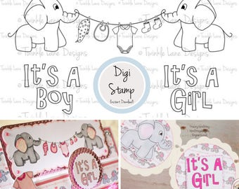 Baby Elephant, Digi Stamp, Baby Clipart, Elephant Clipart, Baby Clothes, Digital Stamp, A5 Page, Digital Stamps, Papercrafting, Printables
