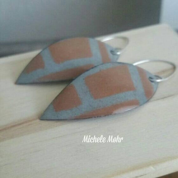 Willow Gray and Chamois Brown Abstact Leaf Enamel Earrings with Sterling Silver Ear Wires
