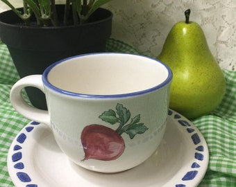 Vintage Pfaltzgraff Teacup and Saucer Set - Summer Garden - Decorated