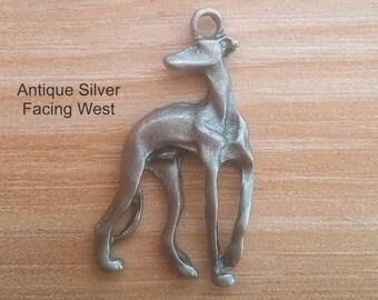 2 Silvery Elegant Greyhound Charms