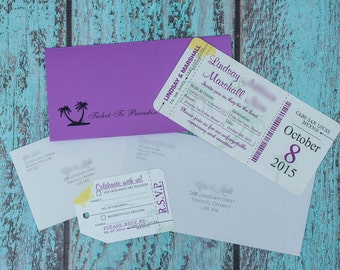 Wedding invitations boarding pass - Destination Invites | Custom and handmade in Canada by ---- www.empireinvites.ca ----