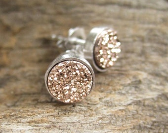 Tiny Rose Gold Druzy Earrings Titanium Drusy Quartz Studs Sterling Silver Bezel Set Rhodium Plated