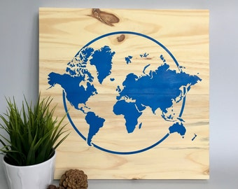 Wood Wall Art, World Map Painting, Travel Art, World Travel, Blue Map, Modern World Map, Travel the World, Map Décor, World Map Art, Home