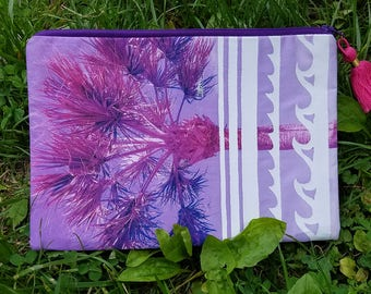Purple Palm Tree and Wave Clutch with Tassel