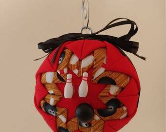 Red and Black folded  fabric handmade ornament with bowling ball and pins