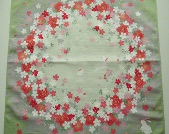 "Japanese Furoshiki Wrapping cloth Oriental 'Rabbits and Sakura Cherry Blossom Circles'  in Pale Green 20"" x 20"""