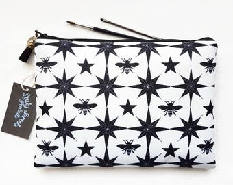 Gifts for her,Large Wash bag,bees fabric,star fabric,black and white fabric, travel bag, cosmetic bag, zip bag, make up bag,toiletry bag