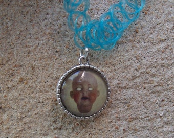 Blue Tattoo Choker or Bracelet With Doll Head Charm 90s goth witch original art doll double stringed
