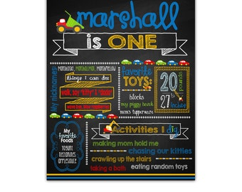 Transportation Birthday Chalkboard Poster, Transportation Party, Personalized, Birthday Milestone Poster, Printable or Printed
