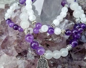 Amethyst Stretch Bracelet, Gemstone Bracelets, Healing Jewelry, Amethyst Gemstone, Yoga Jewelry