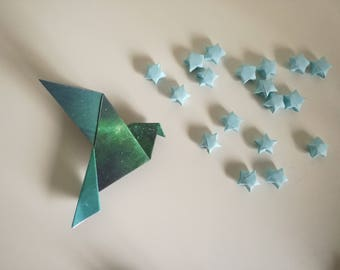 4 handmade origami birds (universe patterns)