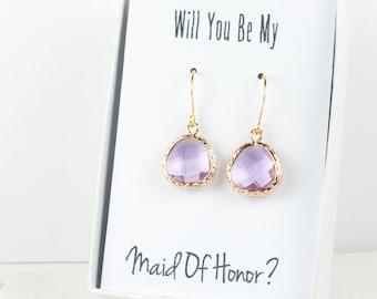 Lavender Gold Earrings, June Birthstone Earrings, Bridesmaid Earrings, Lavender Wedding Jewelry, Wedding Accessories, Gold Earrings #807