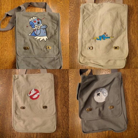 Custom 80s Kid Messenger Bag (ambiguously gay duo, ghostbusters, et, extra terrestrial, rosie, jetsons, throwback, cartoon, kids, 80s)