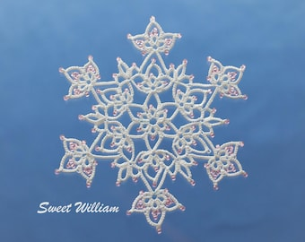 Sweet William tatting pattern PDF, tatted in white with beads makes a lovely snowflake